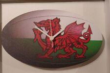 Reloj de Pared Galés Rugby Bola de Madera Novedad British hecho de subida de alondra