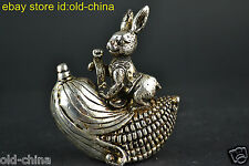 China Collectible Old Tibet Silver Handwork Rabbit Hold Maize Lucky Statue Decor