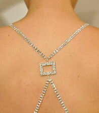 Women Sexy BRA STRAPS Back Square Silver Rhinestone Crystal Adjustable Brand NEW