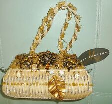 MARY FRANCES Golden Authentic FLOWERS BEADED Handbag Purse Clutch NWT
