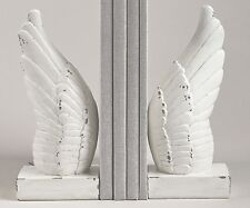 DECORATIVE ANGEL WING BOOKENDS, ANTIQUE WHITE FINISH, NEW HOME DECOR