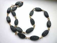 """Vintage Hawaiian Black Coral Oval Link Chain Necklace 18"""""""