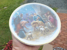 Vintage Christmas Birth Of Jesus Plate Dish Noel Syers Marked Crown With Cross