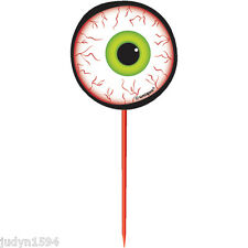 PACK 8 HALLOWEEN HORROR PARTY EYEBALL PICKS TOPPERS CUPCAKE FOOD CAKE DECORATION