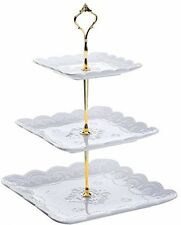 3-Tier Square Porcelain Cake Stand - White Dessert Party Wedding Fruit Display