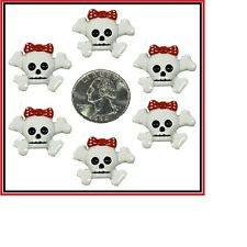 6 PC HALLOWEEN RED BOW SKULL & CROSSBONE FLAT BACK FLATBACK RESINS