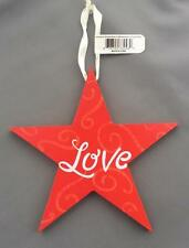 "7"" STAR LOVE RED Wood White Christmas Decoration Holiday Ornament NEW"