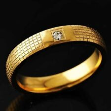 Women Yellow Gold Filled Clear Crystal Mesh Promise love Band Ring Size 9