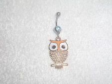 Yellow Color Owl Charm Belly Button Navel Ring Body Jewelry Piercing 14g