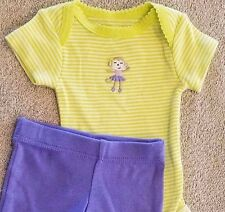 SWEET! NWOT BABY CARTER'S PREEMIE 2PC PURPLE & GREEN MONKEY FOOTED OUTFIT REBORN