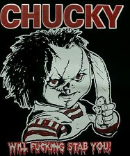 CHILDS PLAY CHUCKY CULT CLASSIC HORROR FILM MOVIE BLACK CANVAS BACK PATCH