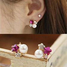New Fashion Gold Plated Crystal Flower Ear Stud Earrings Big Pearl Jewelry Gift