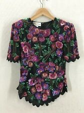 Incredible Laurence Kazar Floral Sequined Blouse Size Petite Small
