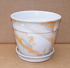 """7 1/2"""" WIDE CERAMIC MARBLE GLAZED MULTI COLORED PATTERN PLANTER WITH SAUCER"""