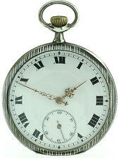 Niello- Tulasilberne offene Herrentaschenuhr um 1900-20  800er Silber ⌀ 51mm
