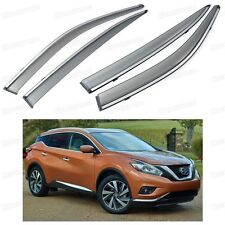Front & Rear Window Visor Deflectors Vent Shade for Nissan Murano 2015-2016 Up