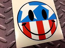 USA AMERICA SMILEY Car Motorcycle Helmet Sticker Decal 1 off 100mm