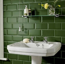 Metro 20x10cm Dark Green Gloss Bevelled Edge Tiles(1 Box/SQM 50 Tiles Per Box)