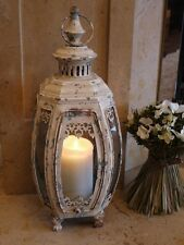 Antique French Vintage Style Large Glass Lantern Candle Holder Cream