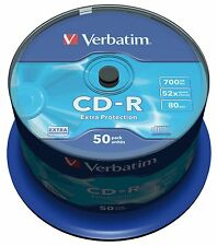 Verbatim Cd-r 700 Mb 52x De Velocidad 80min Grabables Cd-r Disco Husillo Pack 50 (43351)