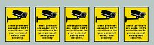 5x CCTV sticker warning sign yellow&black small rectangle A7size 7.4x10.5cm