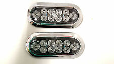 "TWO 6"" Oval Flange Surface Mount Red LED Clear Lens Trailer Light w Chrome Bezel"