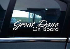 """2x  """" Great Dane On Board """" Dog in car warning , window / bumper STICKERS"""