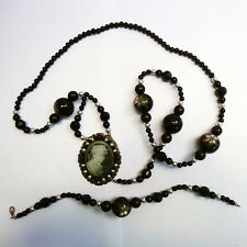 Antique PIETRA DURA, jet Onyx, Seed Pearl and Cameo Necklace bracelet 19th c