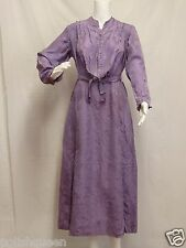 ANTIQUE EDWARDIAN VIOLET PURPLE SILK DRESS AFTERNOON TEA FLORAL BROCADE S