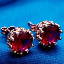 Nice New Rose Gold Plated Round Solitaire Ruby Red CZ Stud Post Earrings