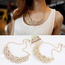 Fashion Hollow Gold Pearl Choker Chain Collar Statement Bib Pendant Necklace
