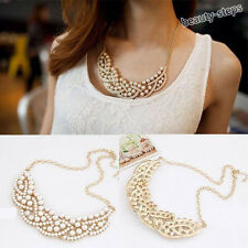1Pc Hollow Gold Plated Pearl Choker Chain Collar Statement Bib Pendant Necklace