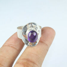 925 Sterling Silver Overlay Blue Amethyst Ring Sz 4.5 Handmade Jewellery