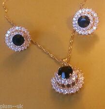 SEB93 Lotus Flower jewellery set,BLACK ONYX,Swarovski Elements,necklace,earrings