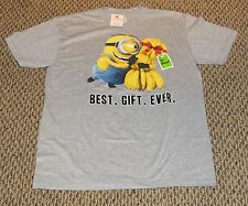 "Men's Despicable Me Gray T-Shirt ""Best Gift Ever"" Bananas To Stuart NEW Size L"