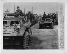 French Soldiers in Armored Cars Hanoi Street Indochina 1947 Press Wire Photo