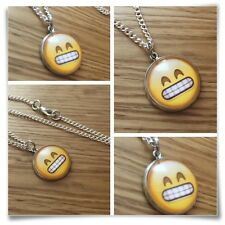 Emoji face Grin teeth eyes smile Charm pendant necklace txt geek