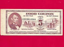 Food stamp Coupon 1973 $5.00 LINCOLN  E91981058A USDA U.S. DEPARTMENT OF AGR.