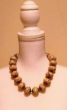 Cute! Chunky Statement Necklace Tan Beige Neutral Brown Large Beads Costume VGUC
