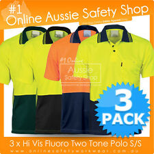 3 X HI VIS POLO SHIRT 2-TONE FLUORO MICROMESH WORK-WEAR