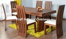 KraftNDecor Wooden Dining Set With 1 Table & 6 Chairs In Brown Colour