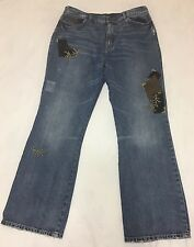 Ralph Lauren Denim Embroidered Jeans Velvet Patches Womens Size 14 DISTRESSED