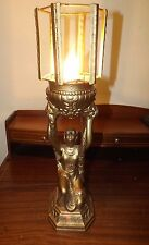 "Gorgeous 19"" tall Antique Art Deco Spelter Table Desk Lamp Very Original Rewired"
