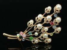 bouquet prom clear crystal cream pearl beads gold flower scarf brooch pin F99