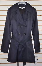 NWT Women's DKNY Double Breasted Trench Coat W/Hood(Detachable). Size L, Navy