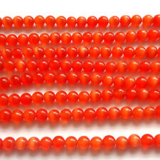 "16"" CAT'S EYE GLASS 8MM ROUND BEADS - RED - CT14"