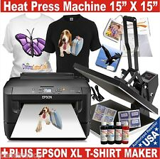 Heat Press Transfer T-Shirt Sublimation Machine + EPSON Printer XL Starter Pack