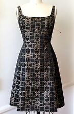 Karen Millen US6 Black/Tan Logo Poly Brocade Sleeveless Cocktail Mini Dress
