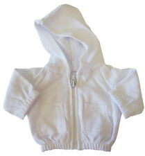 White Hoodie Jacket for Bitty Baby + Twins Doll Clothes DETAILED!
