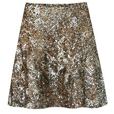 RALPH LAUREN BLUE LABEL $1,498 gold sequin ebroidered mesh and silk skirt 12 NEW